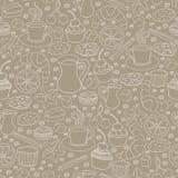 Uppsättning av hand drog kaffe- och kakabeståndsdelar seamless modell Arkivbilder