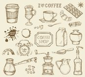 Uppsättning av hand drog kaffesymboler Arkivbild