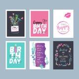 Uppsättning av hand drog kort för vattenfärgfödelsedaghälsning vektor illustrationer