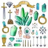 Uppsättning av hand drog medeltida beståndsdelar med vattenfärgeffekt Arkivbilder