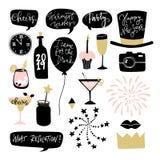 Uppsättning av hand drog nytt års- eller födelsedagdiagrambeståndsdelar Anförandebubles, ballonger, fyrverkerier, coctaildrinkar  stock illustrationer