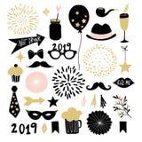 Uppsättning av hand drog nytt beståndsdelar för års- eller födelsedagpartidiagram Fyrverkerier, drinkar, muffin, mustasch och gar vektor illustrationer