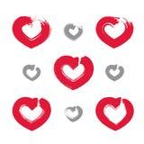 Uppsättning av hand-drog röda förälskelsehjärtasymboler, samling Royaltyfri Bild