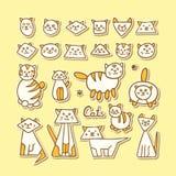 Uppsättning av hand drog roliga katter på gul bakgrund Royaltyfri Bild