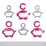 Uppsättning av hand-drog rosa piggybanksymboler, coi för slaglängdborsteteckning Royaltyfri Foto