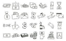 Uppsättning av hand drog släkta symboler för pengar Vektorklotterillustrationer med pengar, finans och kommers gällde ämnen stock illustrationer