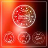 Uppsättning av 4 hand-drog slakt- och hamburgarelogoer royaltyfri illustrationer