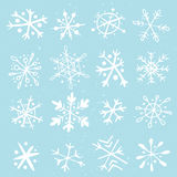 Uppsättning av hand-drog snöflingor Royaltyfri Bild