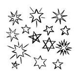 Uppsättning av hand drog stjärnor Royaltyfri Fotografi