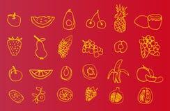 Uppsättning av hand-drog symboler av frukt Arkivbild