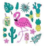 Uppsättning av hand drog tropiska beståndsdelar för vektor med flamingo, exotiska sidor arkivfoton