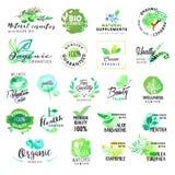 Uppsättning av hand drog vattenfärgetiketter och emblem för skönhetsmedel och hälsovård