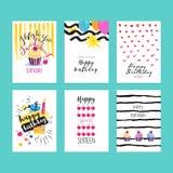 Uppsättning av hand drog vattenfärgillustrationer för födelsedaghälsningkort vektor illustrationer