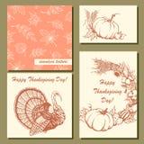 Uppsättning av hand-drog vykort för tacksägelsedag Hand-dragit Royaltyfri Foto