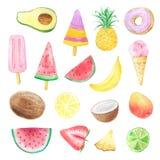 Uppsättning av hand målade vattenfärgsommarfrukter vektor illustrationer