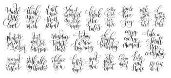 Uppsättning av hand som 25 märker motivational citationstecken, handskriven positi vektor illustrationer