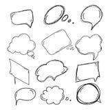 Uppsättning av handdrawn klotterboobles för din text design för uttryck för komikeranförandeläge med en svart blyertspenna vektor royaltyfri illustrationer