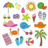 Uppsättning av handgjorda symboler och symboler sommar och semester på stranden royaltyfri illustrationer