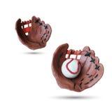 Uppsättning av handsken och bollen för baseball den handgjorda Arkivbild