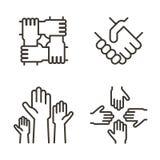 Uppsättning av handsymboler som föreställer partnerskap, gemenskap, välgörenhet, teamwork, affär, kamratskap och beröm byter ut l royaltyfri illustrationer