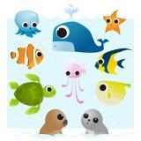 Uppsättning av havsdjur Arkivfoto