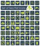 Uppsättning av havssymboler Arkivbilder