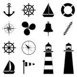 Uppsättning av havssymboler, illustration Fotografering för Bildbyråer