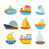 Uppsättning av havstransport Olik sort av fartyg fiska för fartyg stock illustrationer