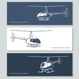 Uppsättning av helikopterkonturer royaltyfri illustrationer