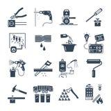 Uppsättning av hem- anordningar för svarta symboler, elkraft vektor illustrationer