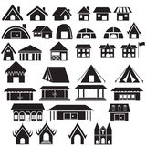 Uppsättning av hemmet, lägret, templet och annan byggnadssymbol Arkivfoto