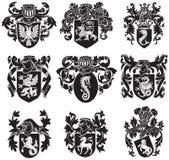 Uppsättning av heraldisk konturNo1 Arkivfoto