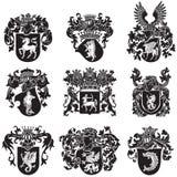 Uppsättning av heraldiska konturer No5 stock illustrationer