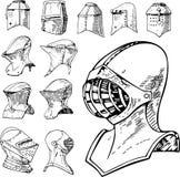 Uppsättning av heraldiskt och riddaren Helmets royaltyfri illustrationer