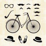 Uppsättning av hipsteren med cykeln Royaltyfri Foto