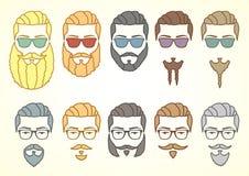 Uppsättning av hipsterframsidan med mustascher och lockiga skägg Royaltyfri Illustrationer