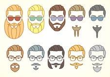 Uppsättning av hipsterframsidan med mustascher och skägg Stock Illustrationer