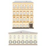 Uppsättning av historiska byggnadsfasader som specificeras högt, verkligt, kulört, på vit bakgrund Arkivbilder