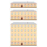 Uppsättning av historiska byggnadsfasader som specificeras högt, verkligt, kulört, på vit bakgrund Royaltyfri Foto
