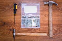Uppsättning av hjälpmedel för hem- renovering Arkivbild
