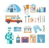 Uppsättning av hjälpmedel för medicinsk forskning, behandling, arbete i institution Arkivbild