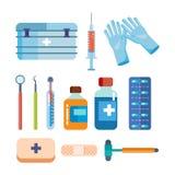 Uppsättning av hjälpmedel för medicinsk forskning, behandling, arbete i institution Royaltyfri Bild