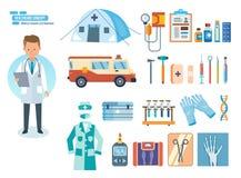 Uppsättning av hjälpmedel för medicinsk forskning, behandling, arbete i institution Royaltyfri Foto