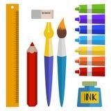 Uppsättning av hjälpmedel och material för att dra målarfärger i rör, borste, penna, färgpulver, blyertspenna Arkivbilder