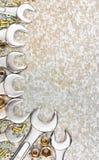 Uppsättning av hjälpmedel som inramar en texturerad bakgrund Royaltyfri Bild