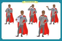 Uppsättning av hjälteaffärsmannen som framlägger i olik handling Lyckliga unga män för svart afrikan i affärsdräkt Folktecken vektor illustrationer