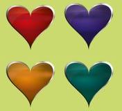 Uppsättning av -hjärtad knappar för metall vektor illustrationer
