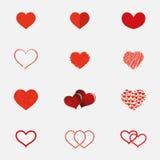Uppsättning av hjärtasymboler i olika stilar Arkivfoton