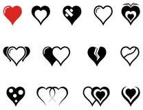 Uppsättning av hjärtasymboler med röd hjärta vektor illustrationer