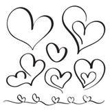 Uppsättning av hjärtor för krusidullkalligrafitappning Illustrationvektor hand dragen EPS 10 Arkivfoto